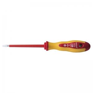 Отвертка диэлектрическая шлицевая 4*100*1.0 мм двухкомпонентная профессиональная HAUPA