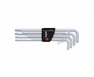 Набор 6-гранных штифтовых ключей со сфер. гол. (11 предметов) мат. хром.