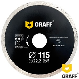 Алмазный диск (круг) 115 мм по керамической плитке GRAFF