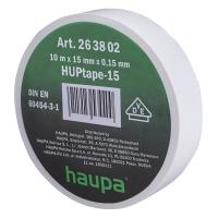 Изолента белая 10м*15мм*0,15мм термостойкая для профессионального использования HAUPA