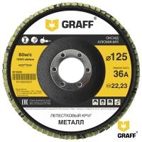 Лепестковый круг (диск) по металлу 125 мм с зерном 36А GRAFF